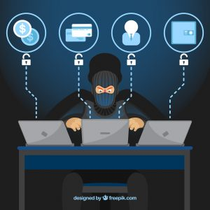 Graphic of a person sitting at a desk with 3 laptops stealing personal information