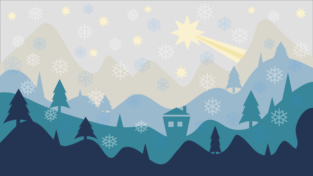 Graphic of mountains and trees in a variety of blues with white snowflakes and a yellow shooting star