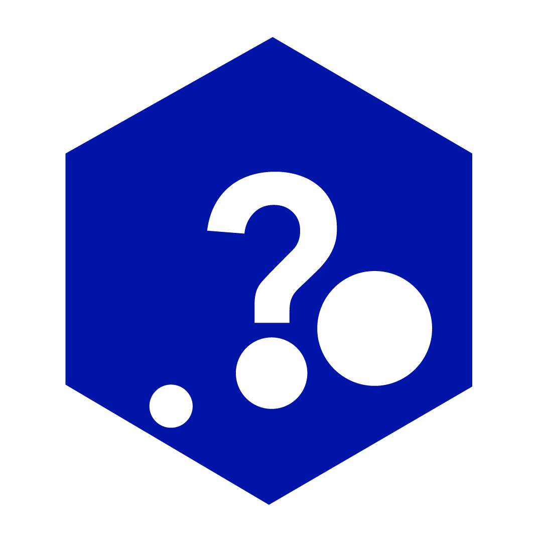 questions icon in blue